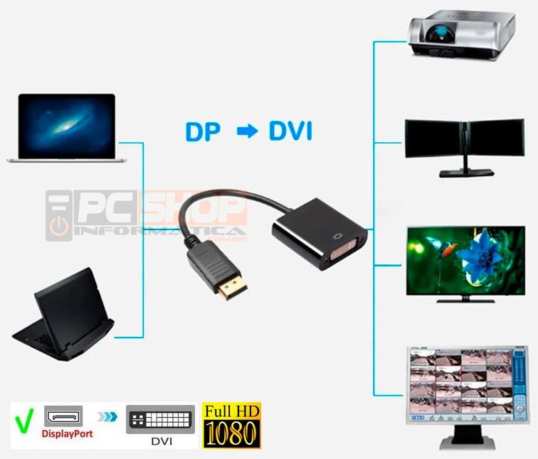 PCSHOP Informática Adaptador Displayport para DVI Fêmea (24+5) Dex AO-902B