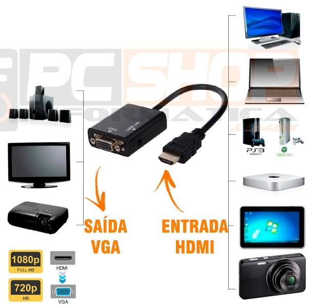 PCSHOP Informática Adaptador HDMI para VGA com Saída de Áudio P2 Inova LT-059