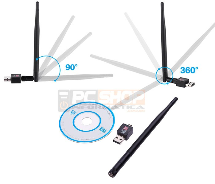 PCSHOP Informática Adaptador Wifi USB Wireless 150Mbps com Antena 2dBi Inova Lt-009