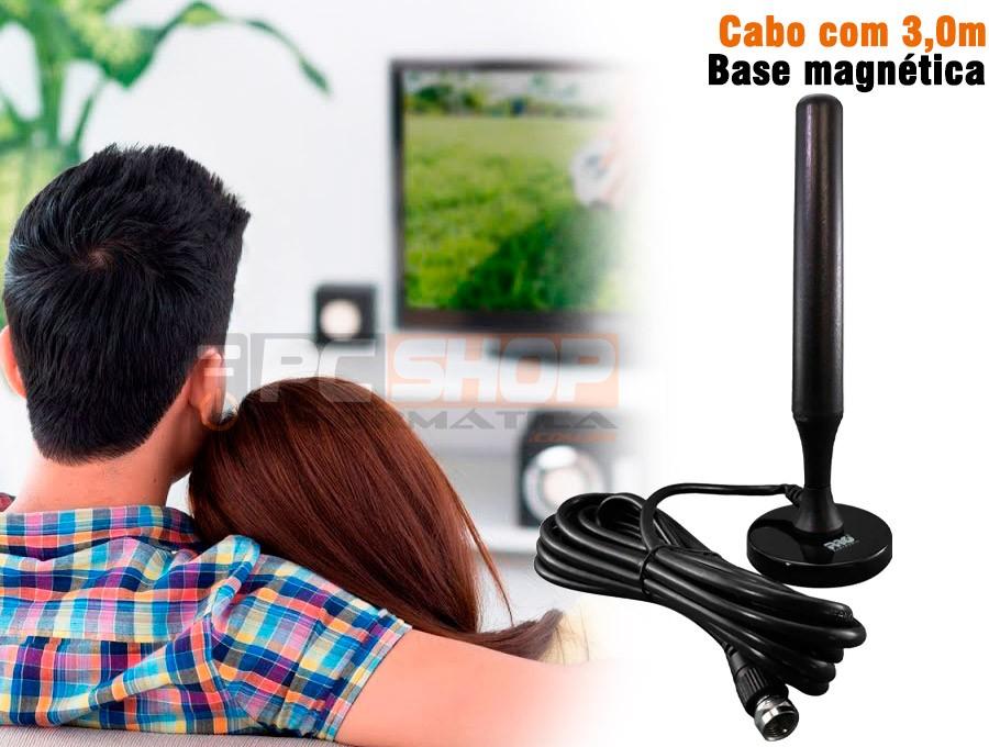 PCSHOP Informática Antena Digital Interna HDTV Base Magnética Cabo com 3,0m PROHD2400