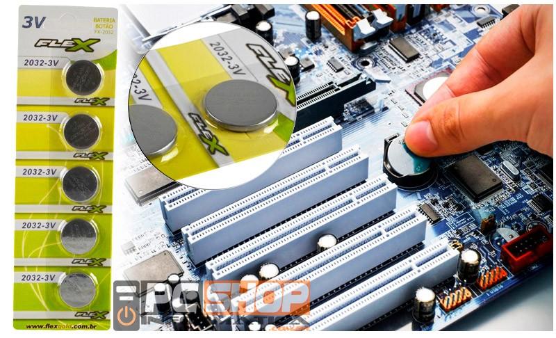 PCSHOP Informática Bateria Pilha CR2032 3V Placa Mãe Relógio Balança Eletrônica com 5un Flex