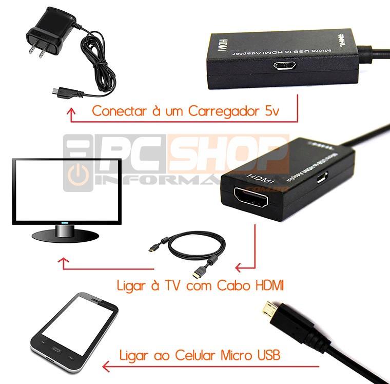 PCSHOP Informática Cabo Adaptador Micro USB V8 para HDMI MHL 2.0