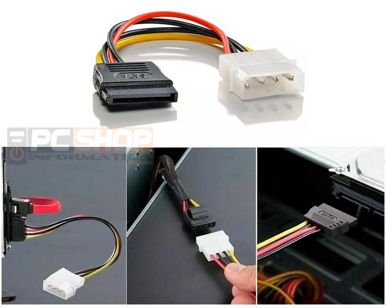 PCSHOP Informática Cabo Adaptador Sata de Força para HD/SSD/DVD/Fonte ATX 15cm