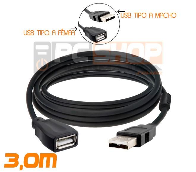 PCSHOP Informática Cabo Extensor USB Macho para USB Fêmea 2.0 com Filtro Exbom 3,0m
