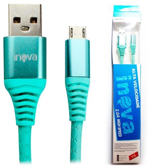 PCSHOP Informática Cabo Micro USB V8 Emborrachado Super Resistente Inova 1,0m