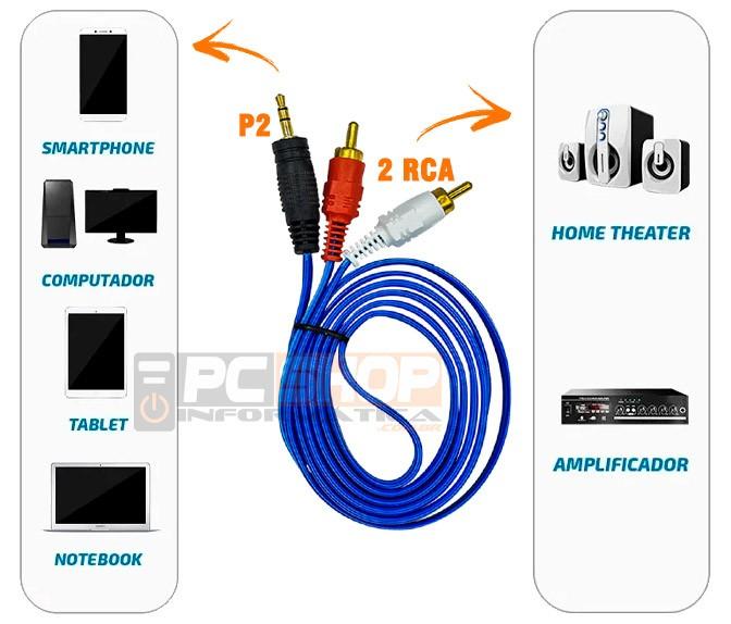 PCSHOP Informática Cabo P2 x 2RCA de Áudio Estéreo 3,5mm Ponta Dourada 1,5m