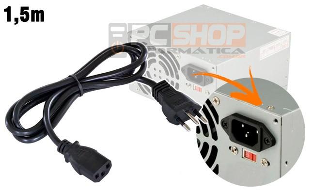 PCSHOP Informática Cabo de Força para PC/Fonte/Monitor Novo Padrão 1,5m