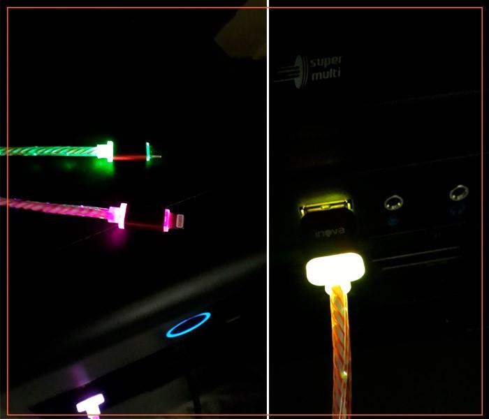 PCSHOP Informática Cabo para Celular 2 em 1 iPhone e V8 Cabo Cristal com LED Inova 1,0m