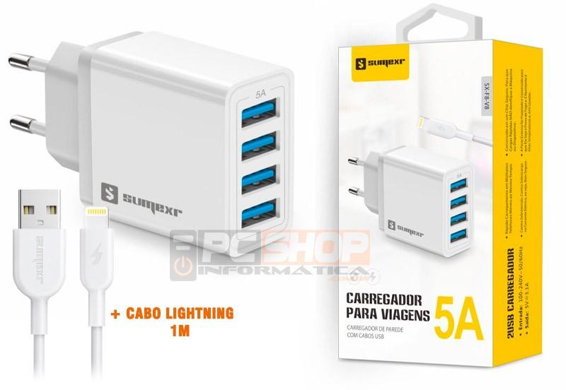 PCSHOP Informática Carregador iPhone Turbo 5A 4 Saídas USB + Cabo Lightning Sumexr