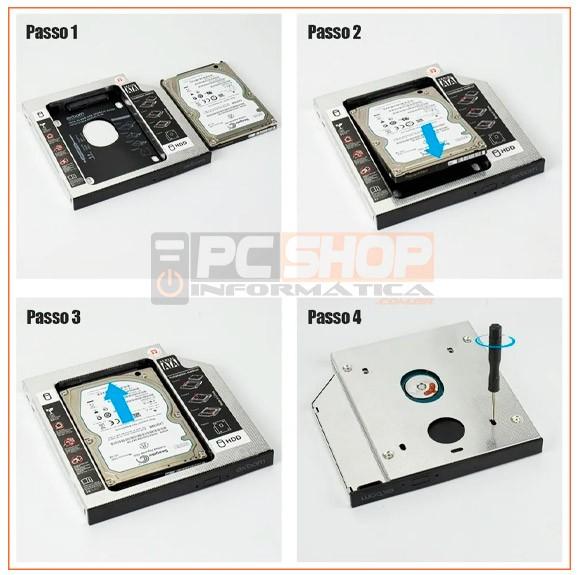PCSHOP Informática Case para SSD/HD Notebook Caddy Adaptador Gaveta de DVD Sata 12,7mm