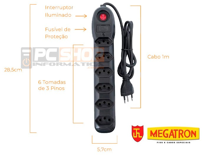 PCSHOP Informática Filtro de Linha 6 Tomadas Bivolt 1,0m 2P+T com Chave Megatron 33