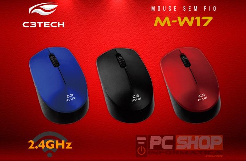 PCSHOP Informática Mouse Sem Fio Wireless C3Tech Ultra Leve 1000DPI 2.4GHz M-W17