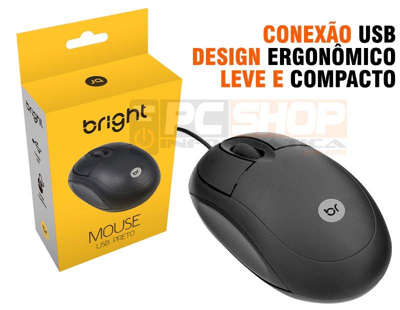 PCSHOP Informática Mouse USB Óptico Com Fio Bright Preto Ergonômico 800DPI 0106