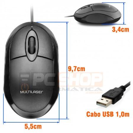 PCSHOP Informática Mouse USB Óptico Multilaser Com Fio Full Black 1200DPI MO300