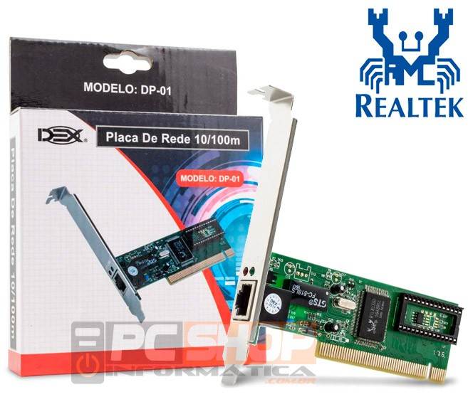 PCSHOP Informática Placa de Rede PCI 10/100Mbps Interna Dex DP-01