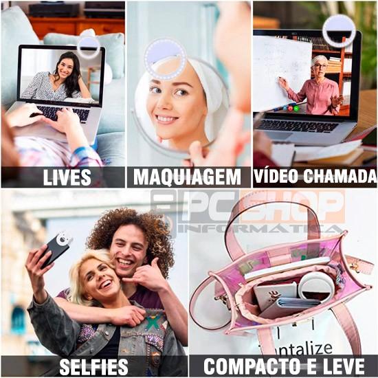 PCSHOP Informática Ring Light para Celular Luz para Selfie Pequena com Clipe Universal