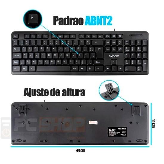 PCSHOP Informática Teclado USB para PC/Notebook com Teclas Macias Exbom BK-102