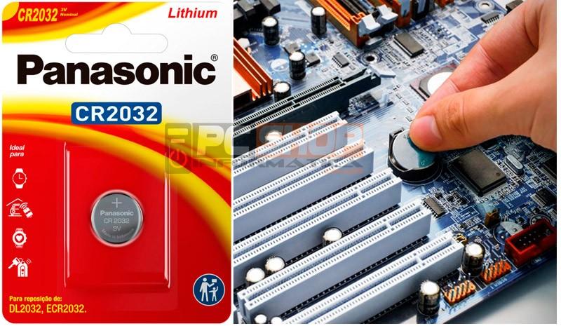 PCSHOP Informática Bateria Pilha CR2032 3V Placa Mãe Relógio Balança Eletrônica Panasonic