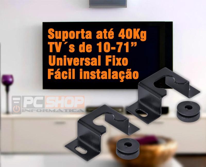 "PCSHOP Informática Suporte de Parede Fixo para TV LCD/LED/Plasma Universal 10-71"" Vinik"