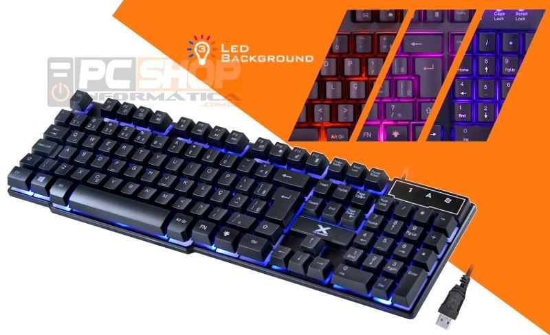 PCSHOP Informática Teclado Gamer Semi Mecânico com LED em 3 Cores Hydra Vinik