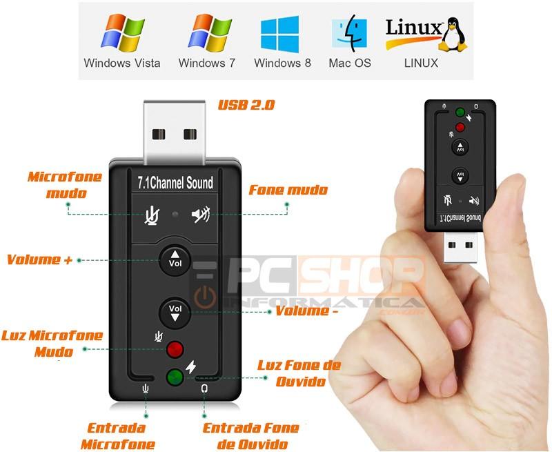 PCSHOP Informática Placa de Som USB 7.1 Canais 3D para PC/Notebook Entrada P2 Fone e Microfone